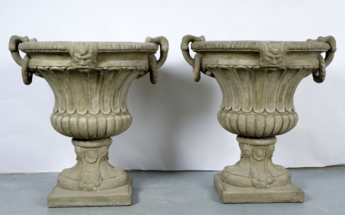 Pair Large Outdoor Concrete Urns / Planters