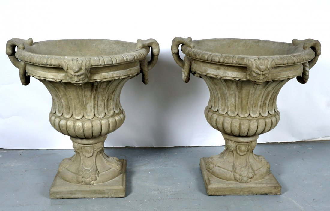 Pair Large Outdoor Concrete Urns / Planters - 2