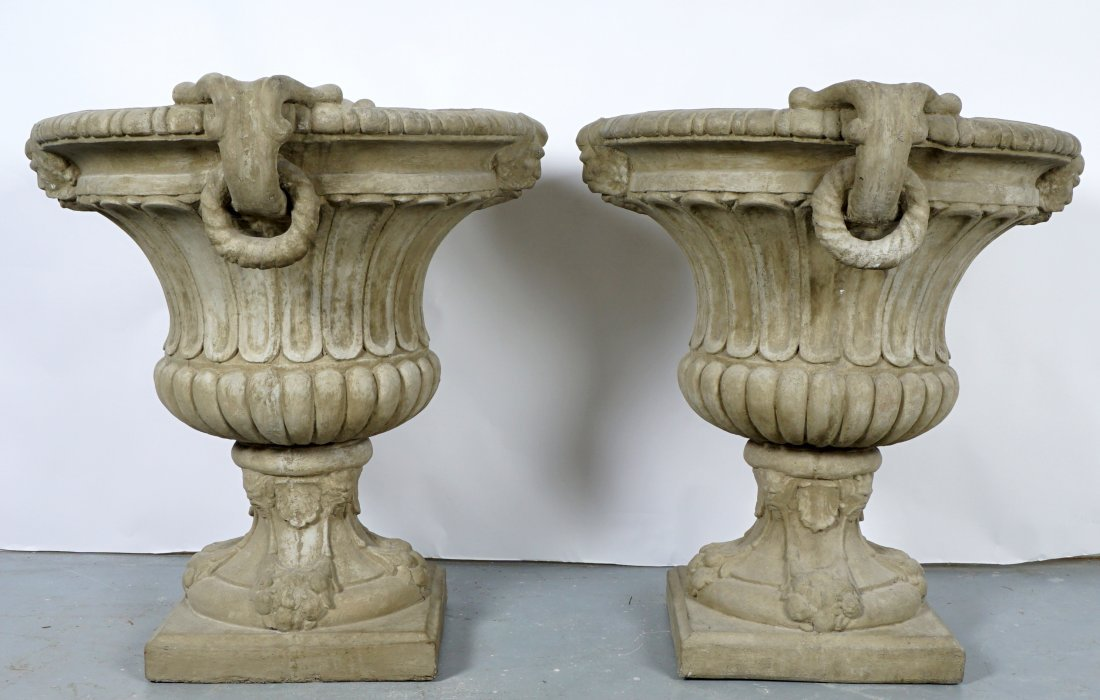 Pair Large Outdoor Concrete Urns / Planters - 3