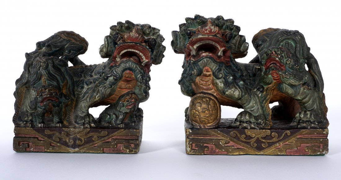 Pair Chinese Carved Stone Foo Dogs
