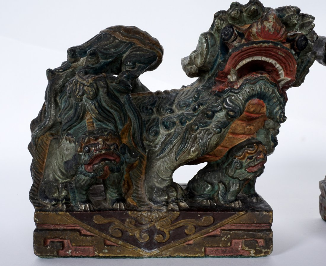Pair Chinese Carved Stone Foo Dogs - 2