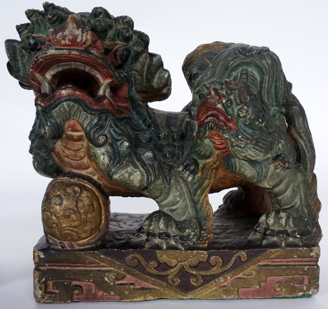 Pair Chinese Carved Stone Foo Dogs - 3