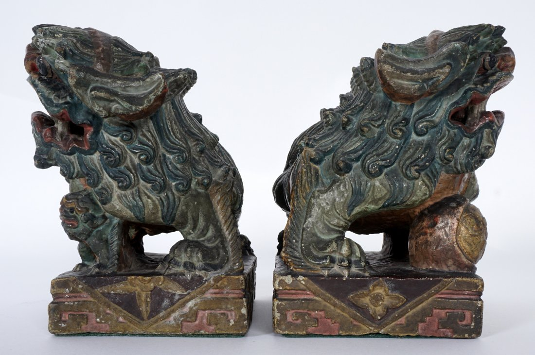 Pair Chinese Carved Stone Foo Dogs - 4