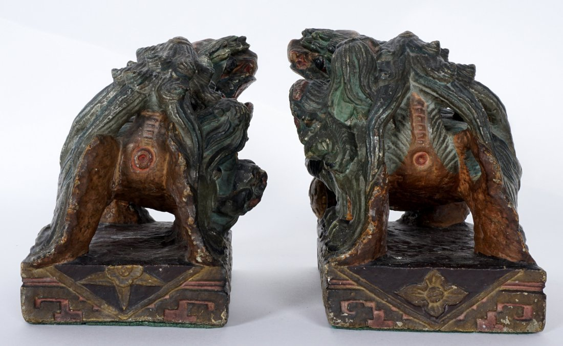 Pair Chinese Carved Stone Foo Dogs - 6