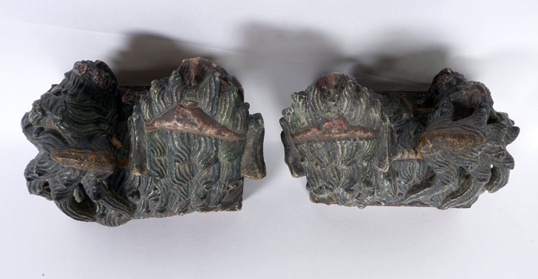 Pair Chinese Carved Stone Foo Dogs - 7