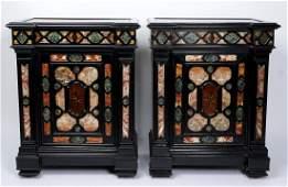 19th C Pair Italian Inset Marble Specimen Cabinets
