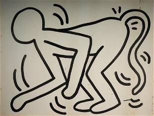 Large 1983 Keith Haring The Monkey Man Painting