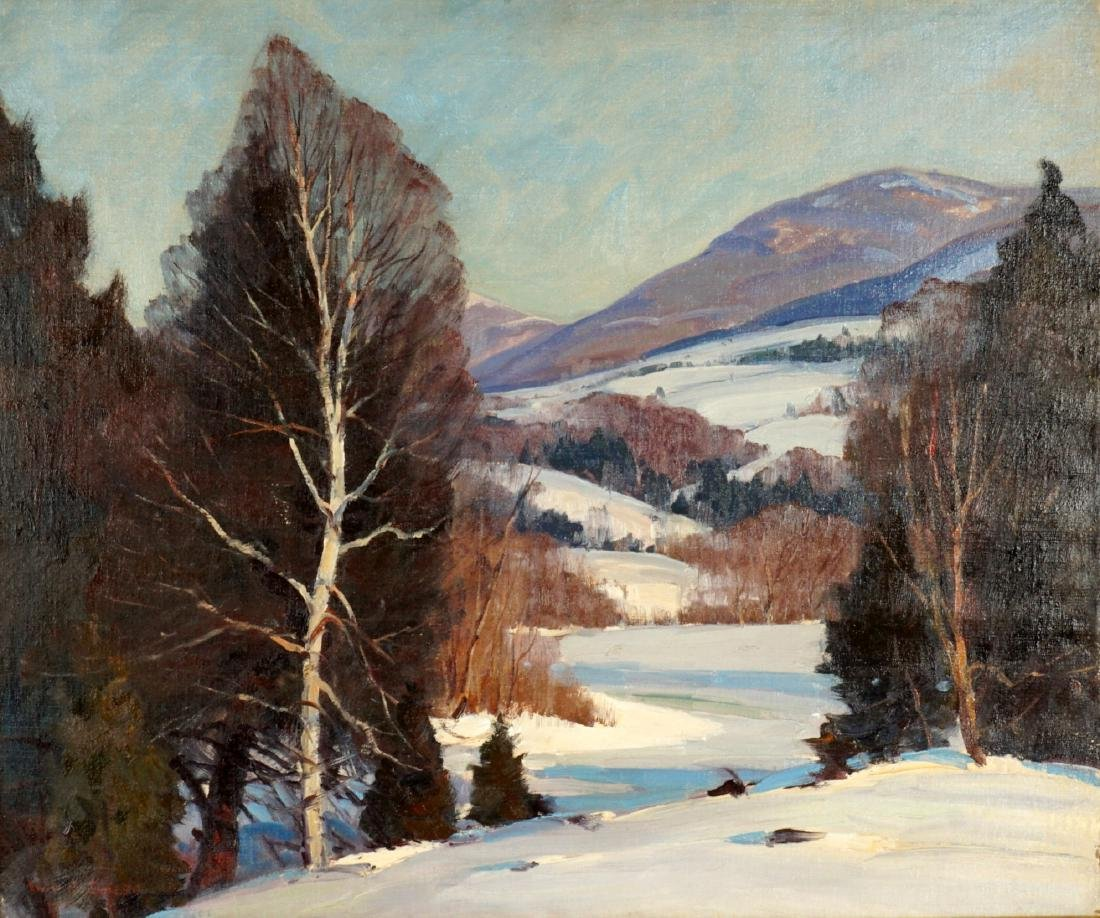 Emile Albert Gruppe Winter Landscape Painting