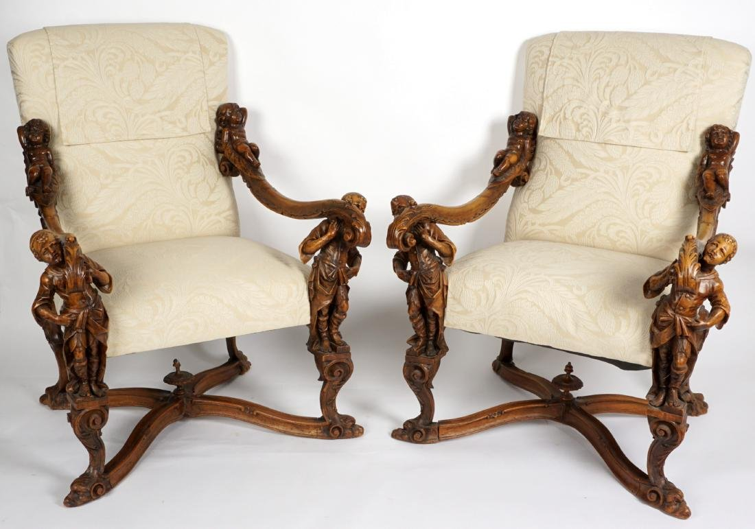 Pair Carved Italian Renaissance Revival Arm Chairs