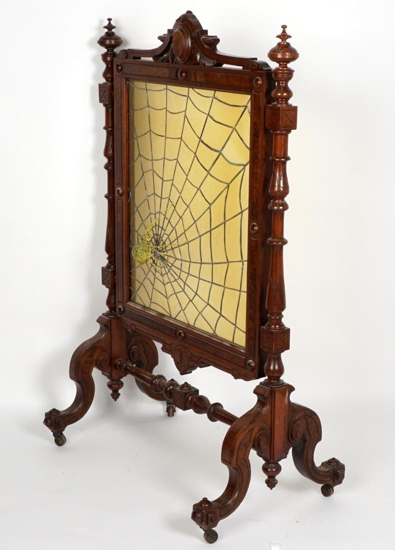 Unique Victorian Leaded Glass Fire Screen