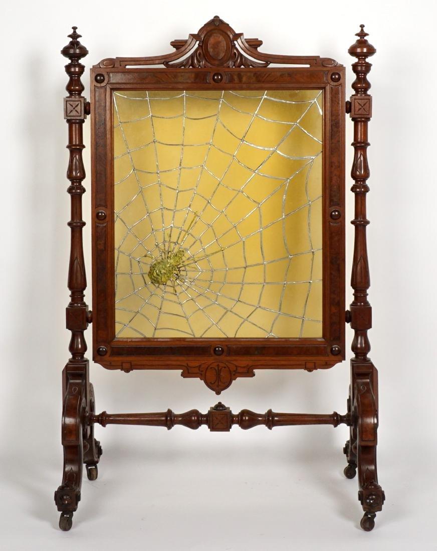 Unique Victorian Leaded Glass Fire Screen - 2