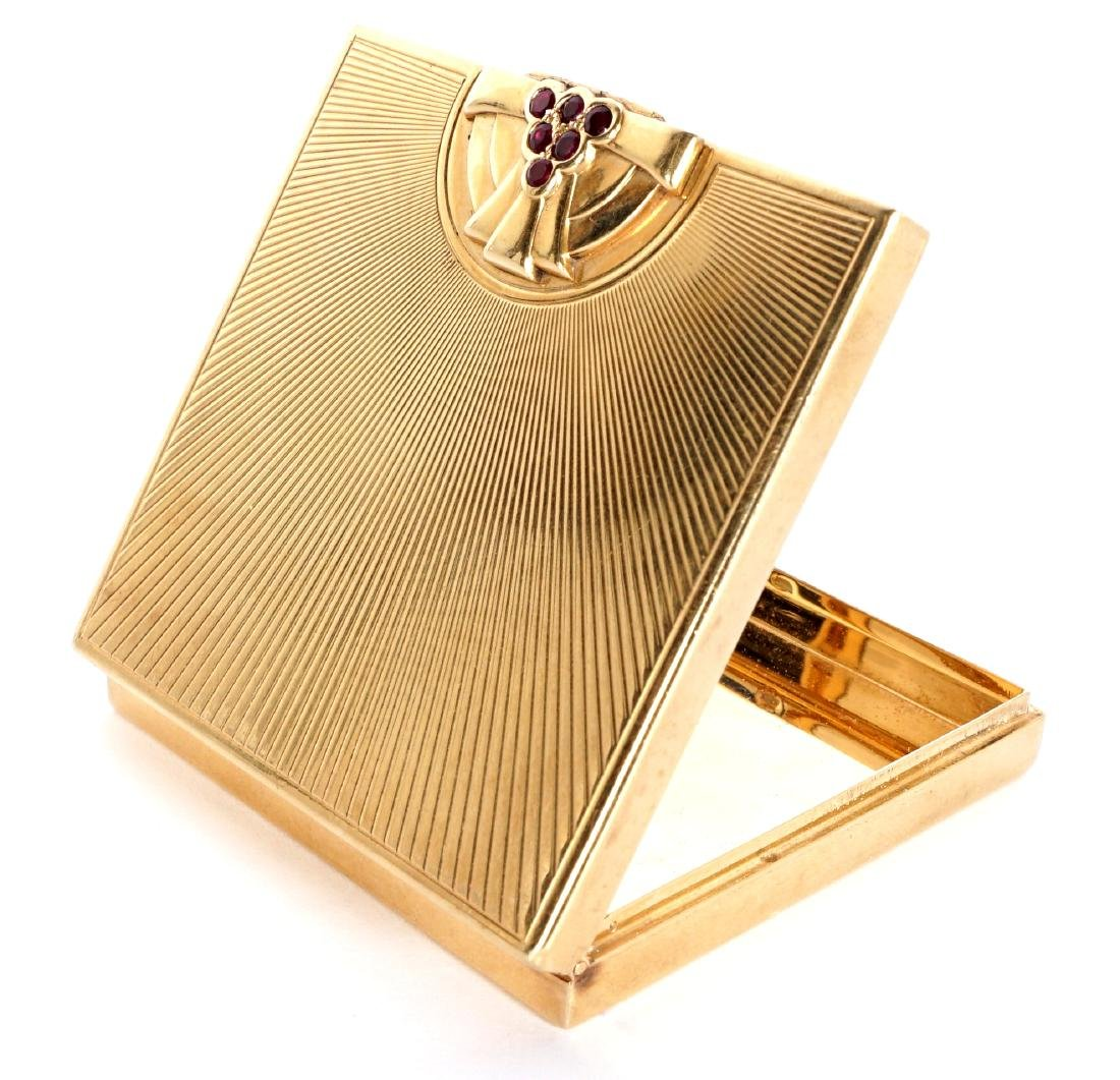Tiffany Art Deco 14k Gold & Ruby Compact