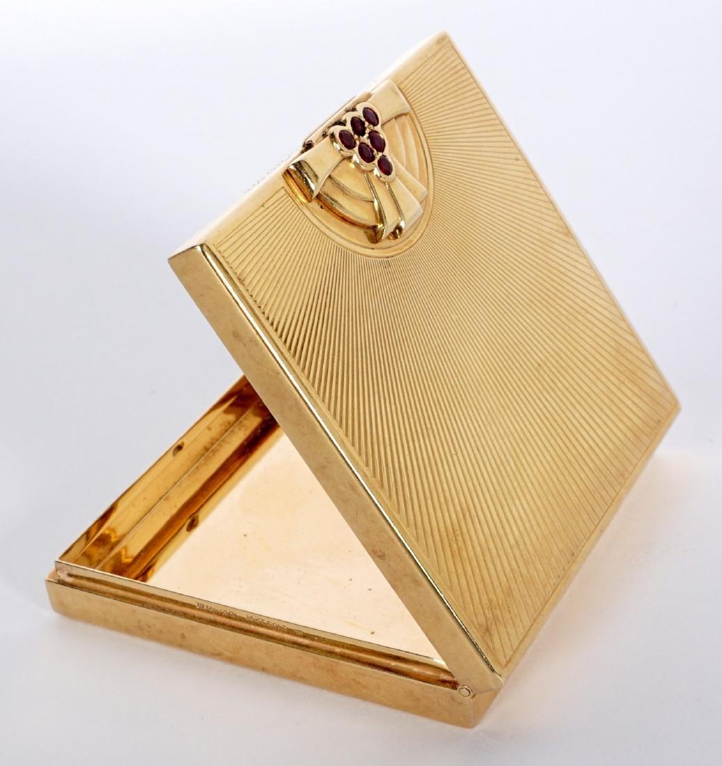 Tiffany Art Deco 14k Gold & Ruby Compact - 2