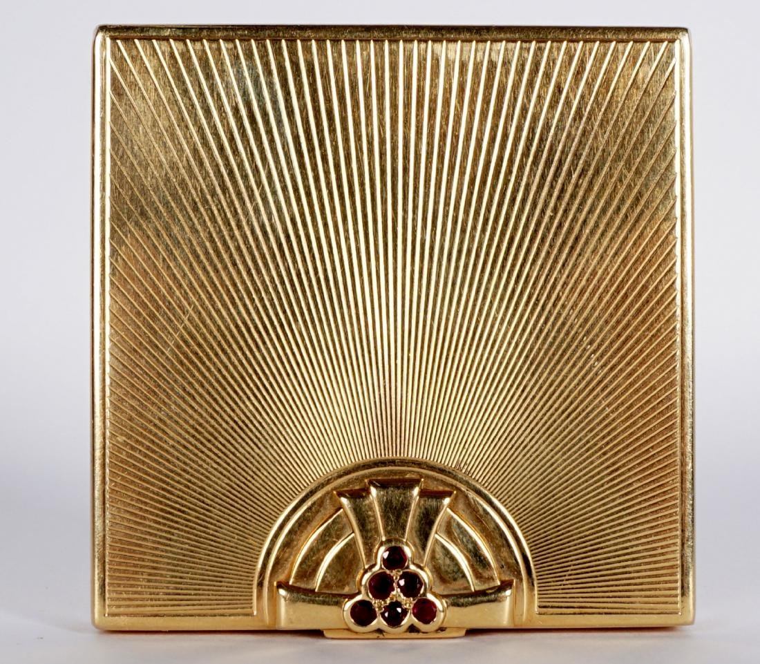 Tiffany Art Deco 14k Gold & Ruby Compact - 3
