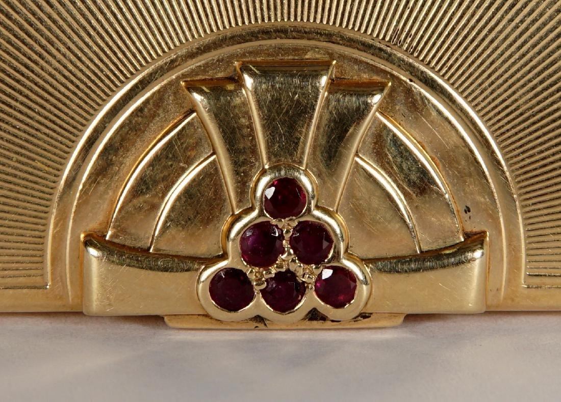 Tiffany Art Deco 14k Gold & Ruby Compact - 4