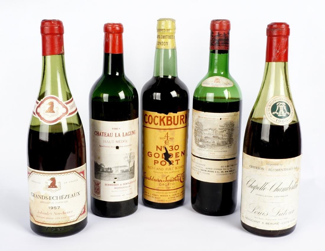 Collection of Five Vintage Fine Wine Bottles