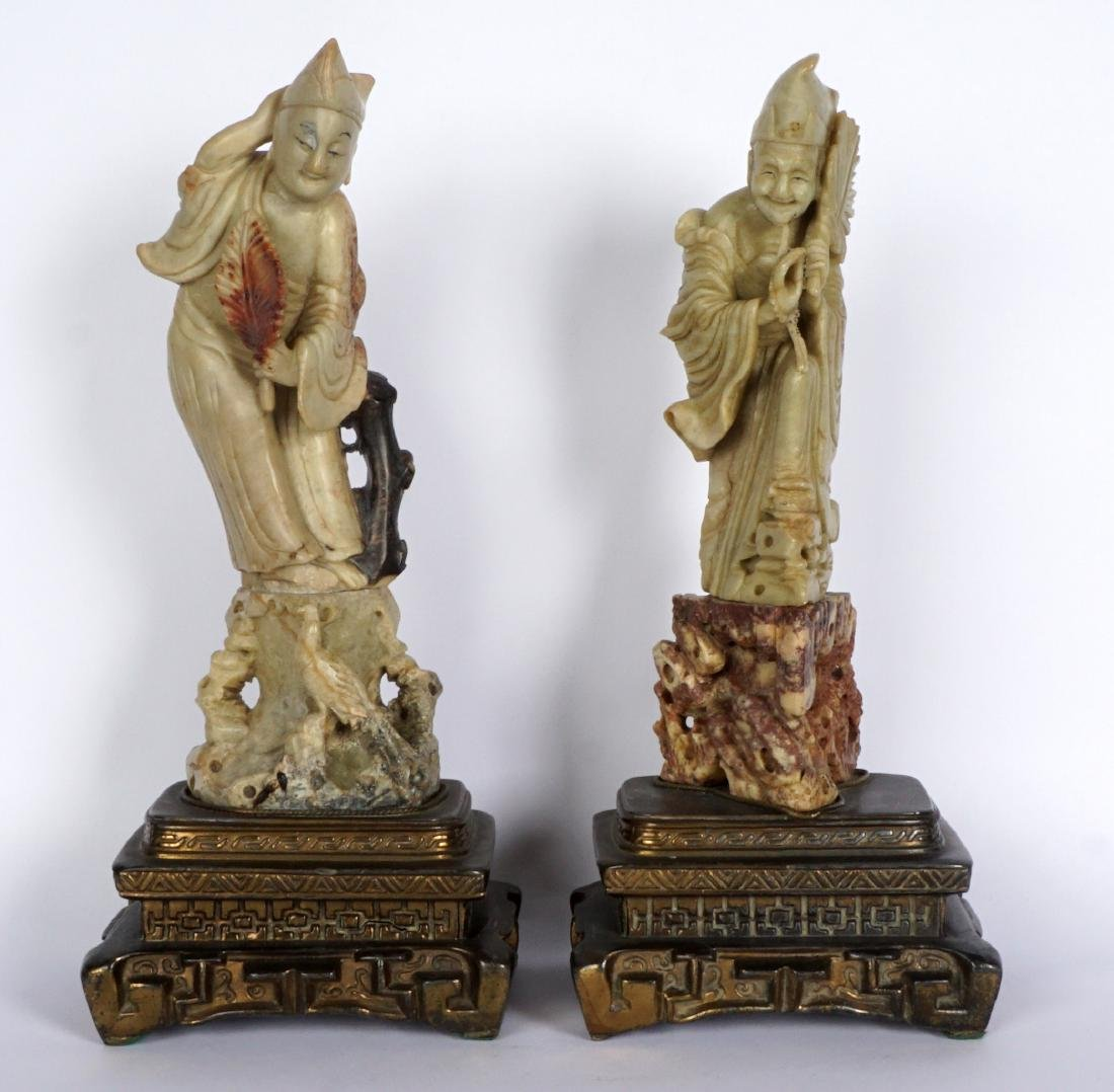 Pair of Carved Soapstone Figures