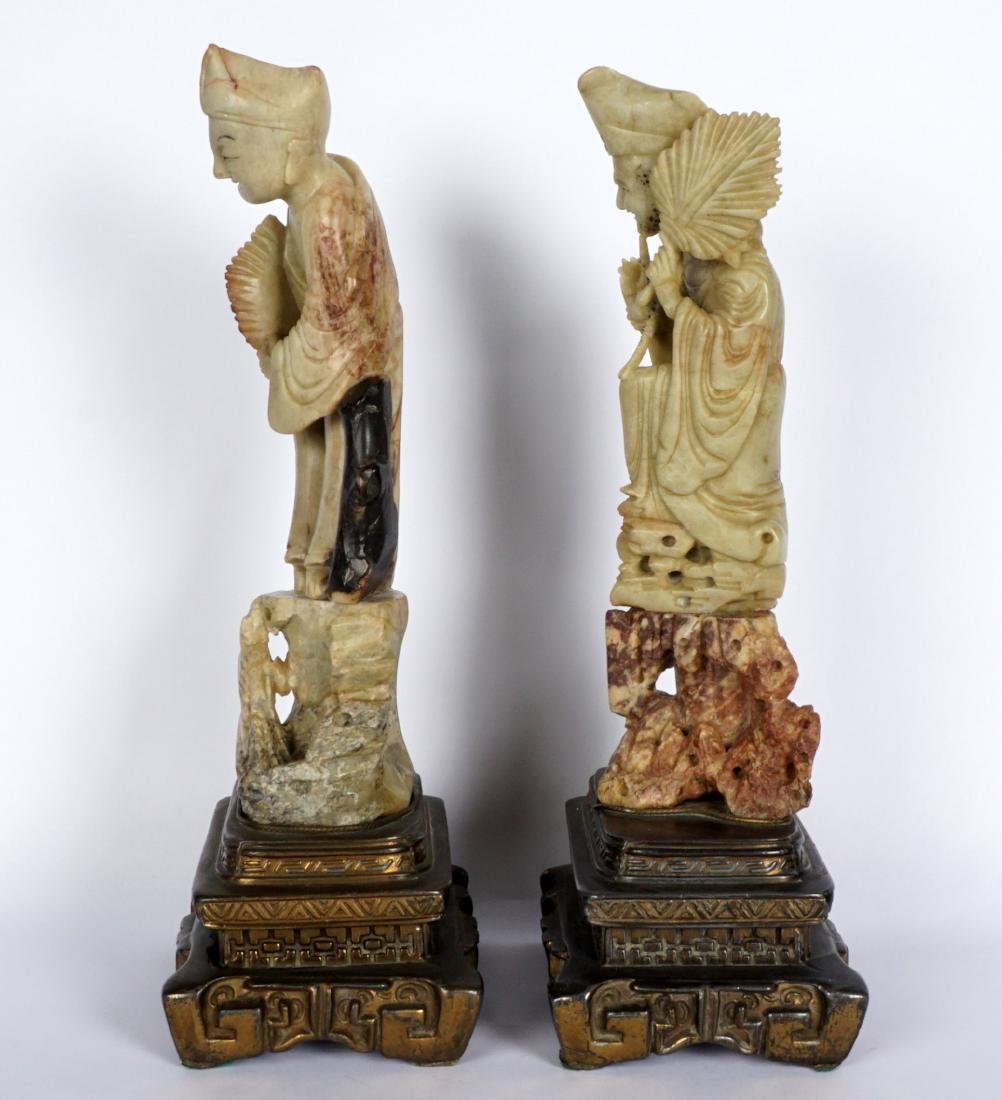 Pair of Carved Soapstone Figures - 3