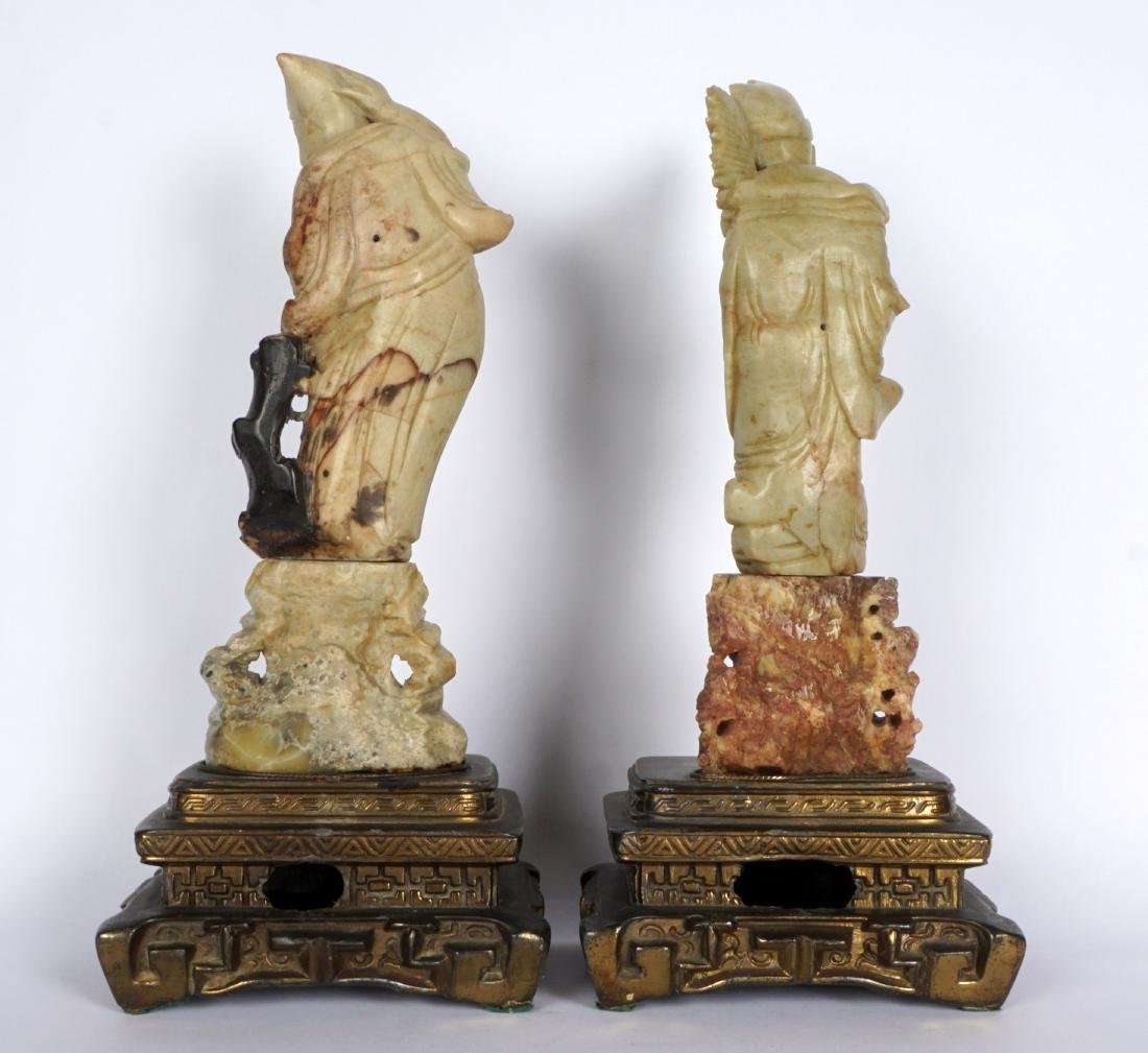 Pair of Carved Soapstone Figures - 4