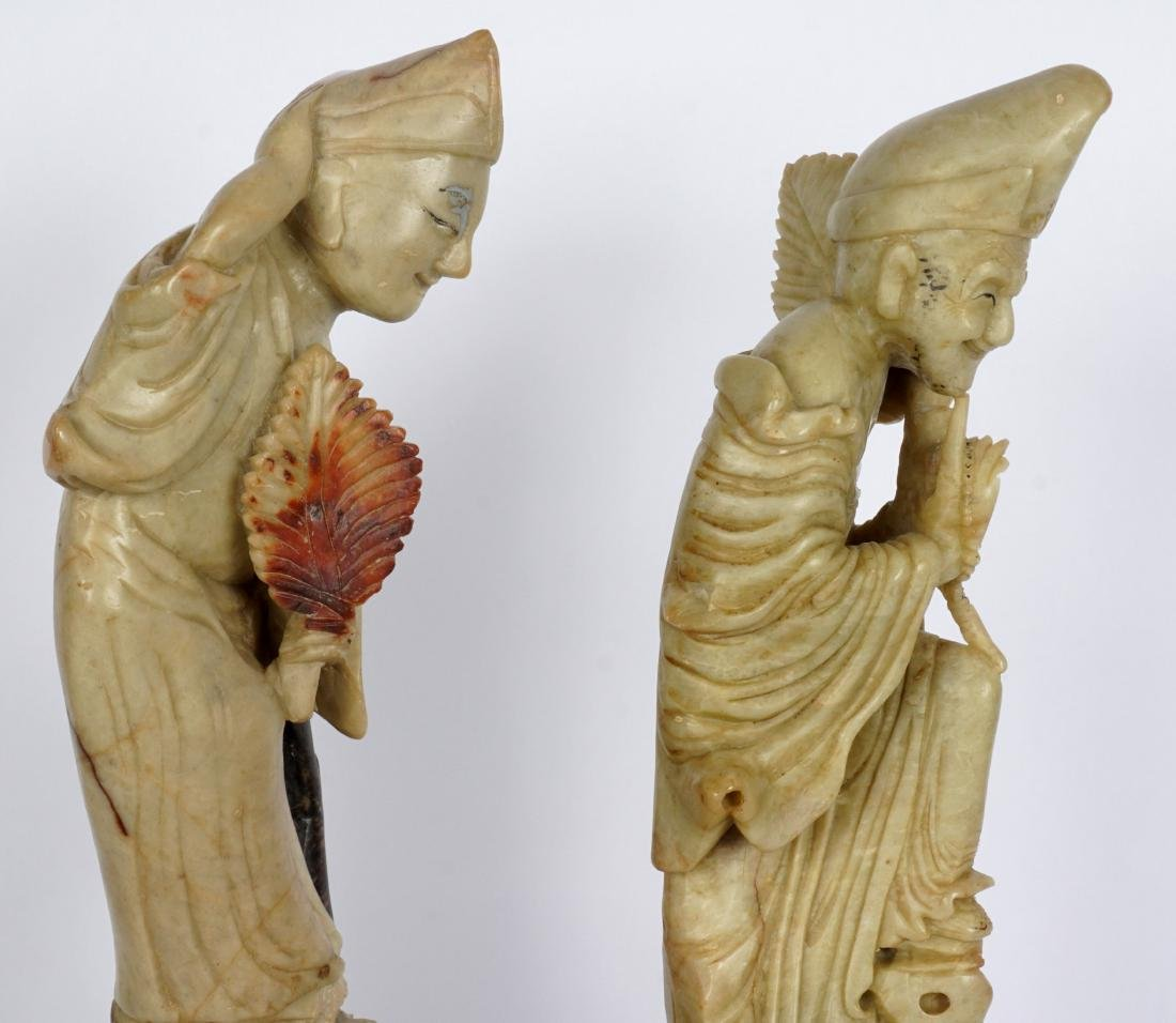 Pair of Carved Soapstone Figures - 6