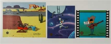 Three Chuck Jones Sericels Daffy Road Runner