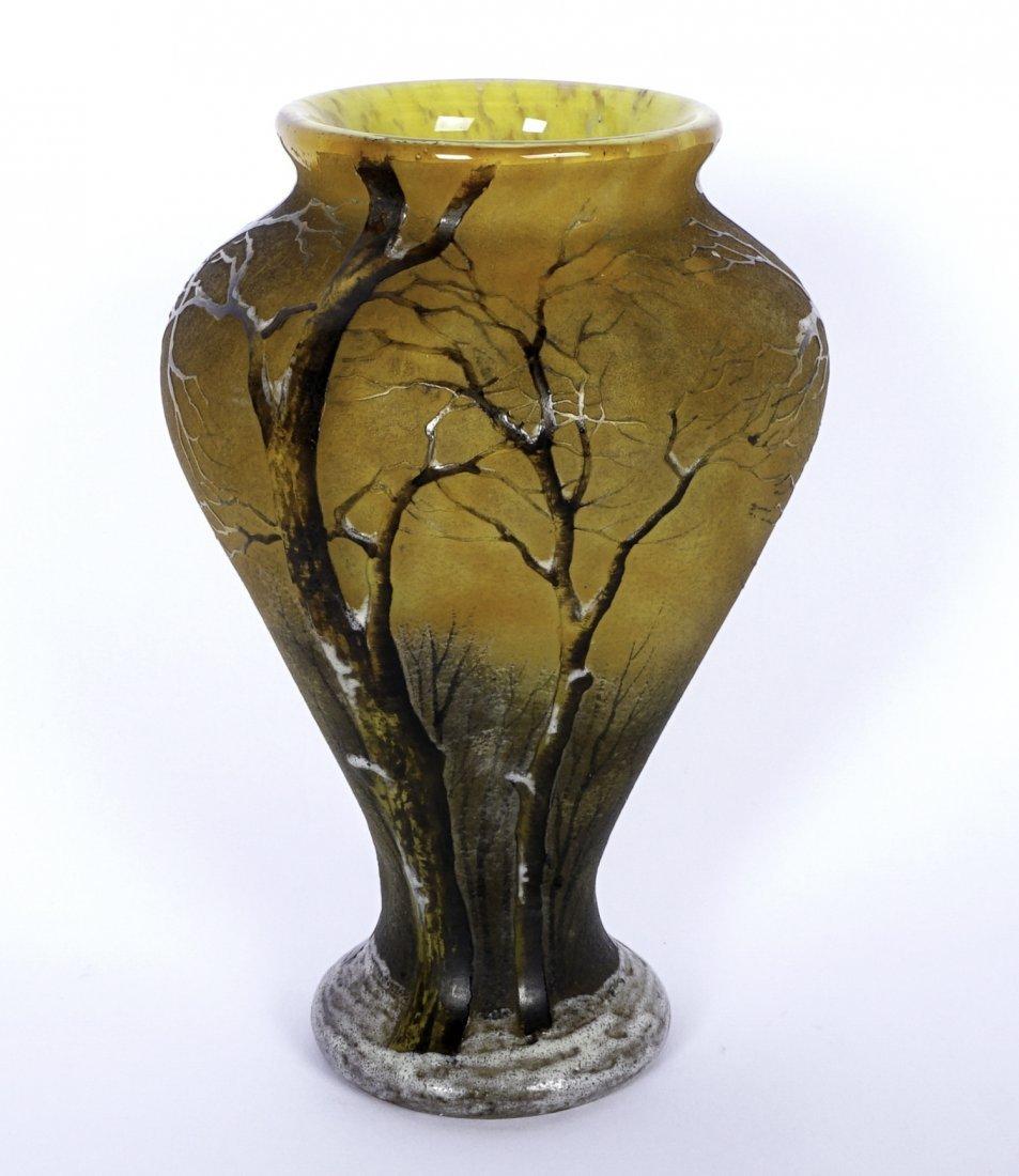 Daum Nancy Winter Scene Cameo Enameled Vase