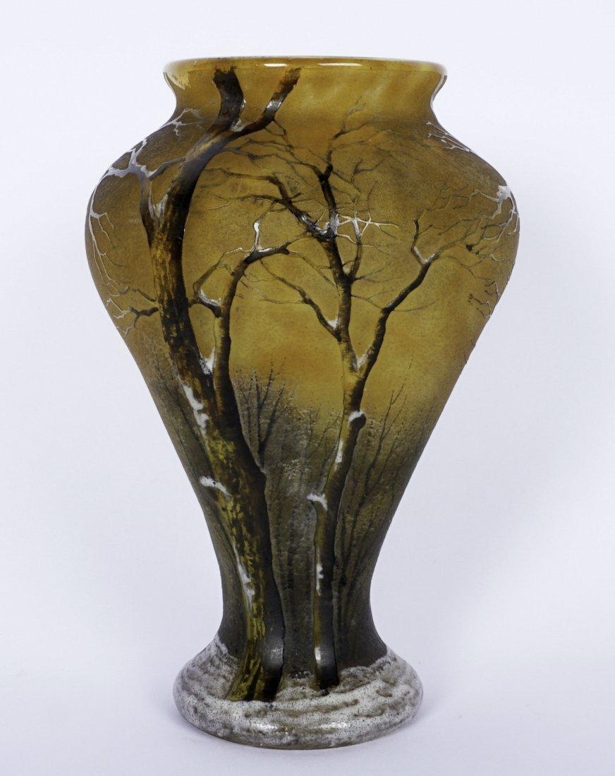 Daum Nancy Winter Scene Cameo Enameled Vase - 2