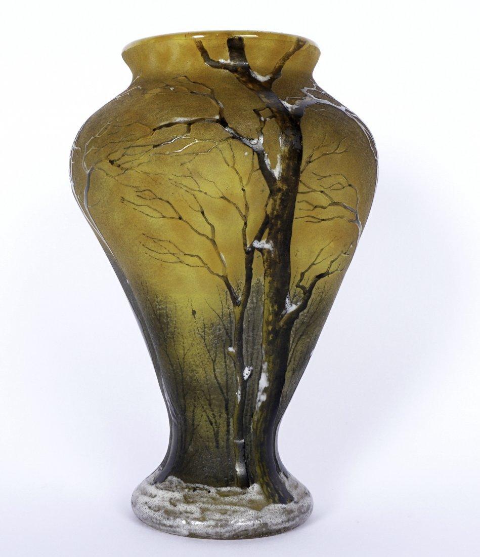 Daum Nancy Winter Scene Cameo Enameled Vase - 3