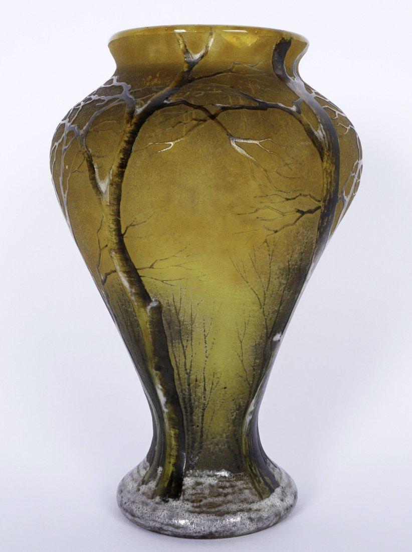Daum Nancy Winter Scene Cameo Enameled Vase - 5