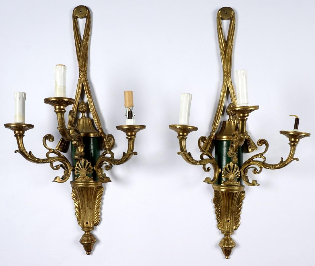 Pair of French Three Light Bronze Wall Sconces