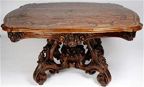 19th Century French Carved Wood Center Table