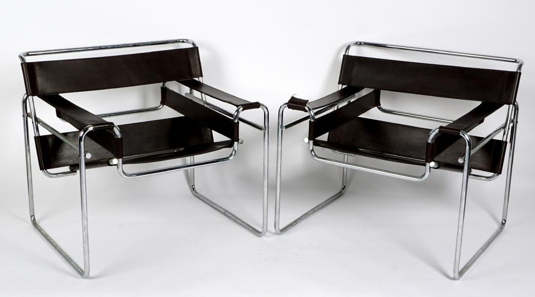 Pair Knoll Wassily Style Chrome Leather Chairs