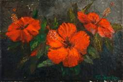 Exhibited A E Beanie Backus Hibiscus Painting