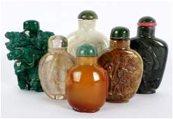 Six Chinese Carved Stone Snuff Bottles