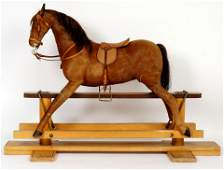 1950s FAO Schwarz Hide and Wood Rocking Horse