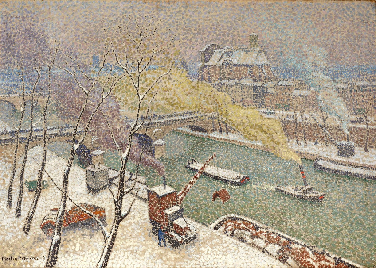 Jacques Martin-Ferrieres Snow on the Seine Oil/Can