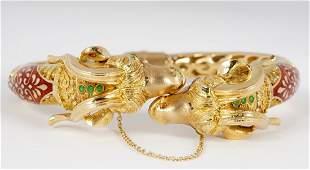 18k Yellow Gold Double Rams Head Bracelet