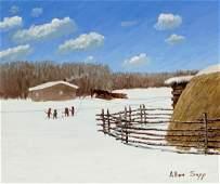 Allen Sapp Winter Farm Landscape Painting