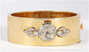 14k Gold  Diamond Hinged Cuff Bracelet Watch