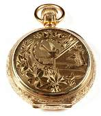 Elgin 14k Gold Engraved Full Hunter Pocket Watch