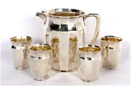 Tiffany Hand Hammered Sterling Pitcher and Glasses