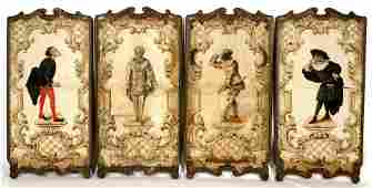 Four Italian 18th19th C Painted Wall Panels