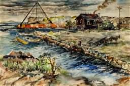 Attrib. Thomas Hart Benton Coastal Town Watercolor