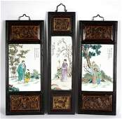 Three Chinese Porcelain Plaque Wall Panels