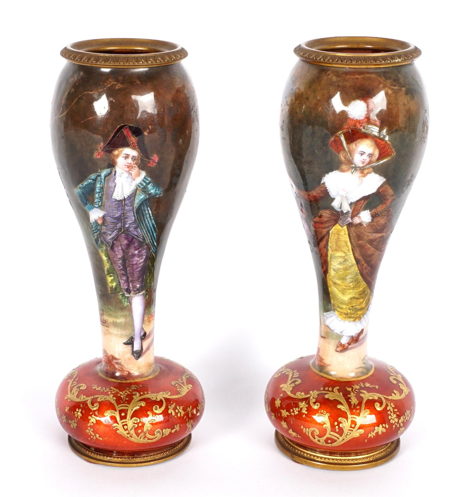 Rockefeller Estate Pair French Enamel M. Pel Vases