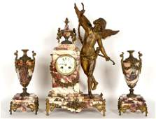 French Figural Cupid Marble Clock Garniture Set