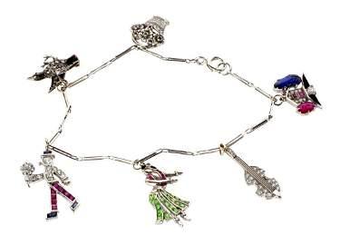 Platinum and Multi Stone Charm Bracelet