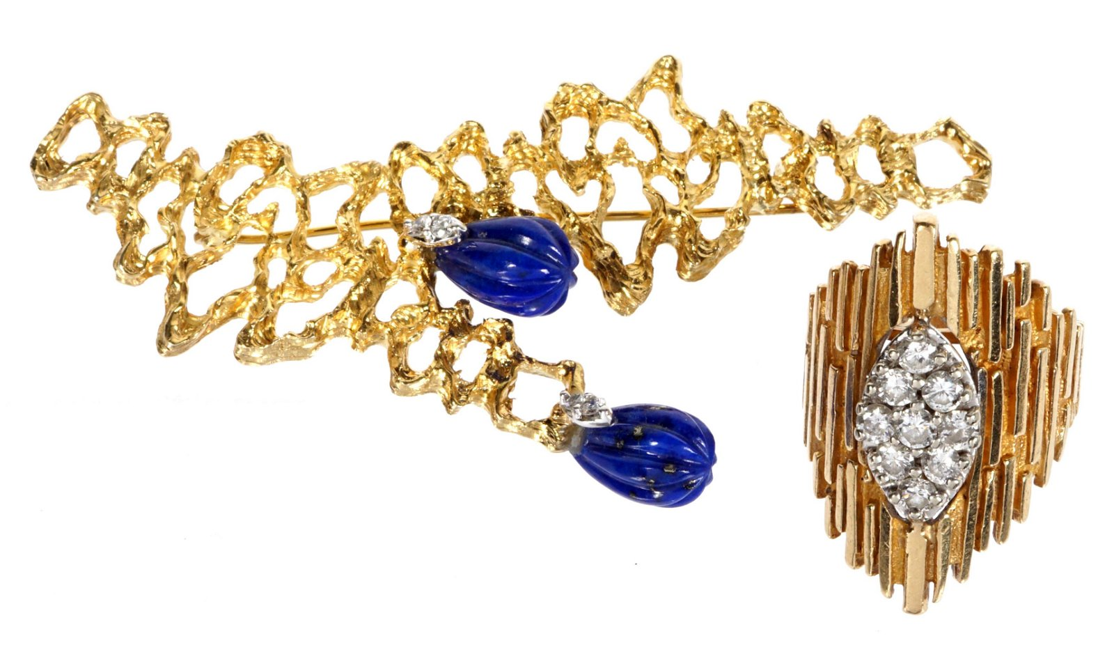 Brutalist Gold & Diamond Ring and Lapis Brooch