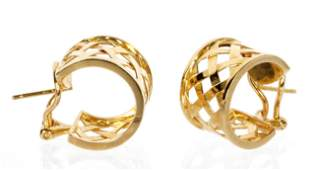 Pair Verdura 18k Gold Huggie Earrings