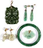 Five Piece Collection of Gold and Jade Jewelry